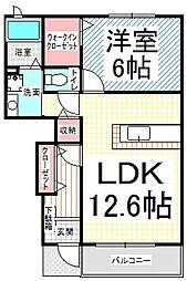 長野県長野市新諏訪1丁目の賃貸アパートの間取り