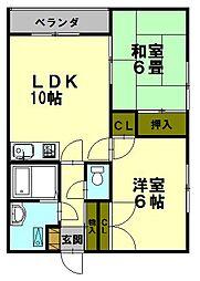 北海道小樽市豊川町の賃貸アパートの間取り