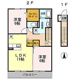 旭区南本宿町 ラッキーベルA202号室[2階]の間取り