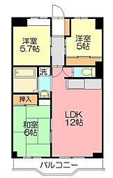 富士スカイハイツ[2階]の間取り