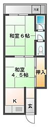 大阪府豊中市小曽根4丁目の賃貸アパートの間取り