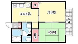 兵庫県神戸市東灘区御影中町6丁目の賃貸アパートの間取り