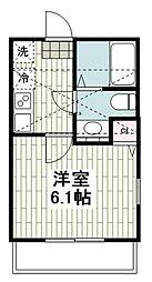 JR京浜東北・根岸線 本郷台駅 徒歩12分の賃貸アパート 2階1Kの間取り