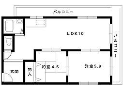 阪急神戸線 岡本駅 4階建[301号室]の間取り