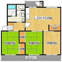 醍醐上ノ山団地B1棟[2階]の間取り