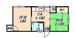 兵庫県神戸市垂水区千鳥が丘1丁目の賃貸アパートの間取り