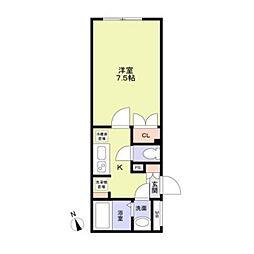 東京メトロ東西線 早稲田駅 徒歩8分の賃貸マンション 3階1Kの間取り