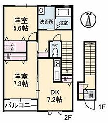 島根県松江市奥谷町の賃貸アパートの間取り