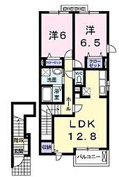 広島県福山市北本庄3丁目の賃貸アパートの間取り