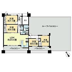 サーパス鶴島[13階]の間取り