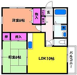 兵庫県芦屋市川西町の賃貸アパートの間取り