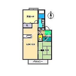 ラ・ベルターナ2 B棟[2階]の間取り