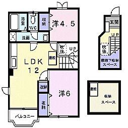 千葉県東金市田間2丁目の賃貸アパートの間取り