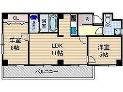 山崎第6マンション[2階]の間取り