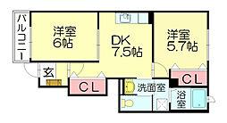 クレストール原田[1階]の間取り
