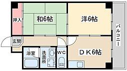 中崎西ハイツ 1階2DKの間取り