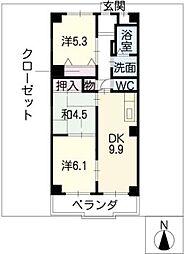 リバーパーク小田井[2階]の間取り