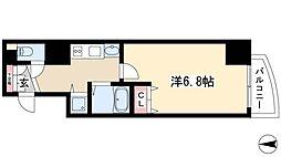 プレサンス覚王山D-StyleII 2階1Kの間取り