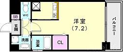 神戸市西神・山手線 新長田駅 徒歩3分の賃貸マンション 4階ワンルームの間取り