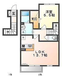 JR山陽本線 高島駅 徒歩17分の賃貸アパート 2階1LDKの間取り