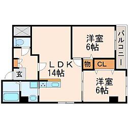 甲子園第2松並ハイツ[1階]の間取り