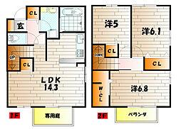 ラシーヌyugawa A棟[101号室]の間取り