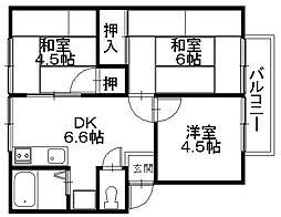 「ハイツ梅田」 〜全室角部屋 ファミリータイプ〜[201号室]の間取り