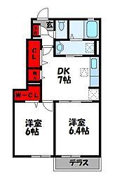 クリオスIII 1階2DKの間取り