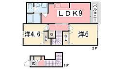 兵庫県加古郡播磨町東本荘1丁目の賃貸アパートの間取り