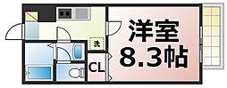 Osaka Metro中央線 緑橋駅 徒歩10分の賃貸アパート 2階1Kの間取り