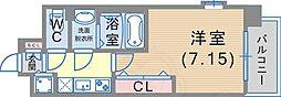 Luxe東灘 3階1Kの間取り