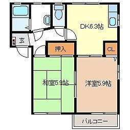 グランドール21 B[2階]の間取り