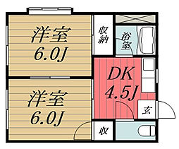 JR東金線 求名駅 徒歩35分の賃貸アパート 2階2DKの間取り