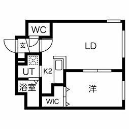 札幌市営東西線 西11丁目駅 徒歩13分の賃貸マンション 2階1LDKの間取り