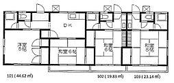 ニコニコ荘[101 (角)号室]の間取り