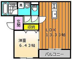 REIWAマンション 2階1LDKの間取り