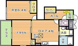 カーサプラシード A棟[1階]の間取り