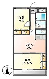 愛知県名古屋市昭和区天神町2丁目の賃貸マンションの間取り