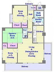 ライオンズマンション西舞子第2[5階]の間取り
