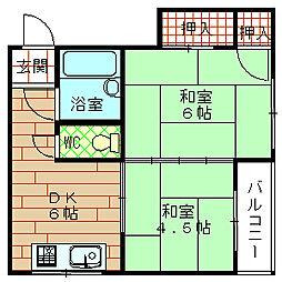 大阪府大阪市港区弁天2丁目の賃貸マンションの間取り