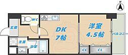 スタシオン俊徳道 5階1DKの間取り