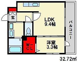 JR鹿児島本線 春日駅 徒歩6分の賃貸マンション 3階1LDKの間取り