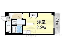 Osaka Metro谷町線 千林大宮駅 徒歩14分の賃貸マンション 4階ワンルームの間取り