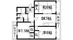 兵庫県西宮市東山台2丁目の賃貸マンションの間取り