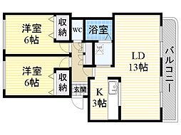 プラーサ菊水元町[201号室]の間取り