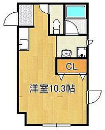 TENOU BLD 1階ワンルームの間取り