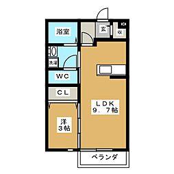 ディアコート安田[1階]の間取り