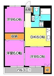 東京都清瀬市竹丘3丁目の賃貸マンションの間取り