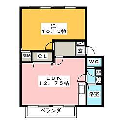 グリーンステージ B棟[2階]の間取り