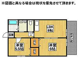 クレッシェンド黒崎公園横B棟[2階]の間取り